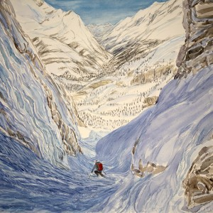 Gerwetsch Couloir view to Zermatt in valley below,Switzerland - watercolour on paper  £500