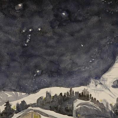 stars orion constellation matterhorn ski skiing painting Alps