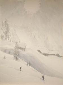 ski painting Alps powder skiing mist Leukerbad