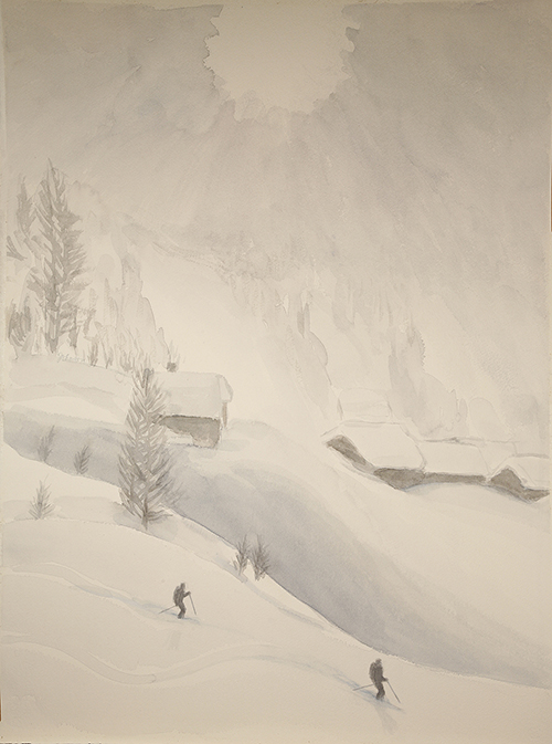 ski painting Alps powder skiing mist Leukerbad