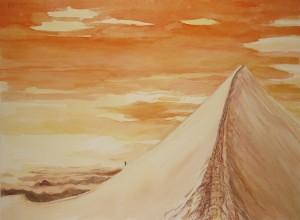 italian haute route spaghetti tour painting alps sunset castor summit