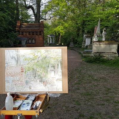 Working on watercolour in Nunhead Cemetery adding Dogs as they come around the corner