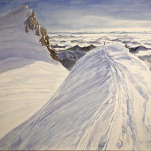 2015 Summit snow ridge of Parrotspitze view to Italy