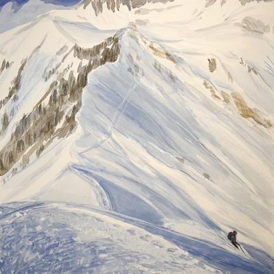 ski skiing painting Alps disentis bostg Switzerland