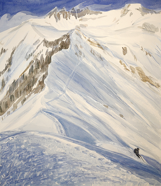 ski skiing painting Alps disentis bostg Switzerland