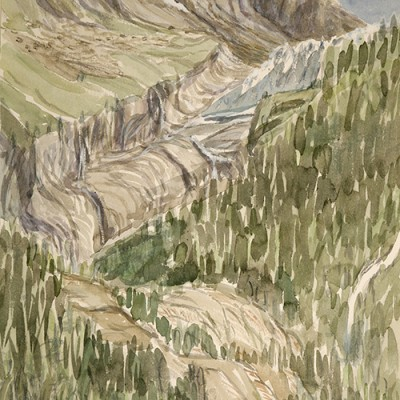 The Receding Glacier Argentiere France - watercolour painted on paper in situ August 2016 54 x 35 cm £375