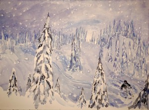 Bella K3 cat skiing Canada ski painting