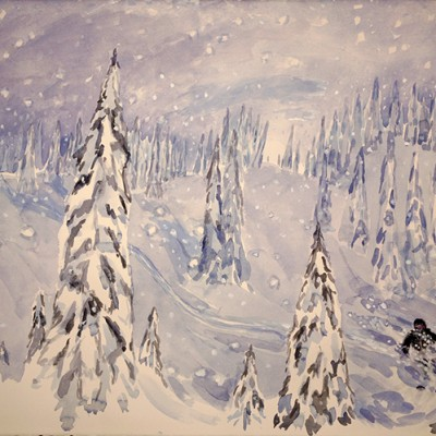 Skiing down Bella with K3 Cat Skiing Monashee mountains British Columbia - watercolour 55 x 75 cm £600