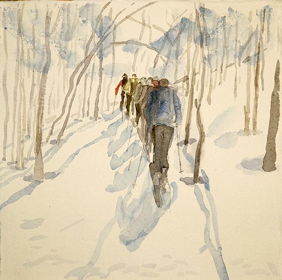 birches Jokelfjord ski skiing painting Norway