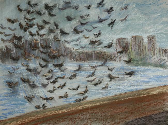 birds river thames pastel
