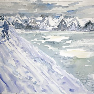 Painted in evening from memory Blatinden in the wind Lyngen Fjord