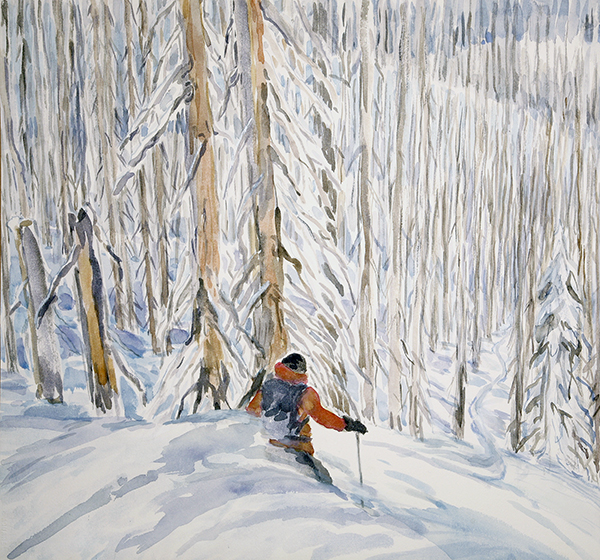 ski skiing painting Burn K3 monashees canada