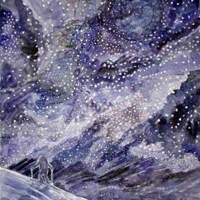 snowstorm stars haute route skiing painting ski Alps