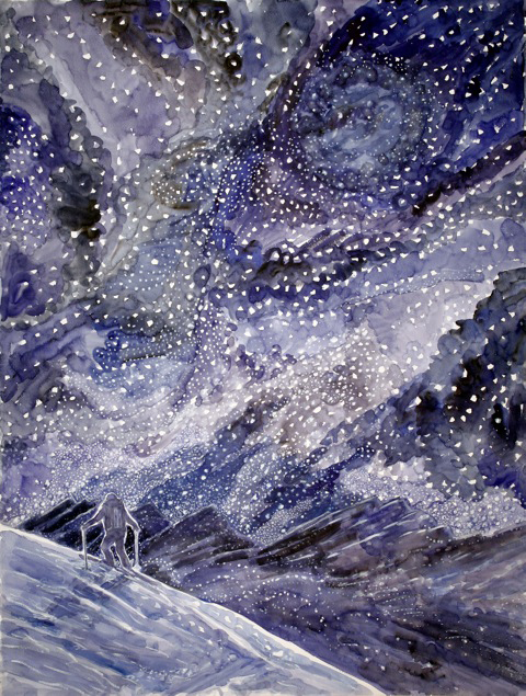 snowstorm stars haute route skiing painting ski Alps