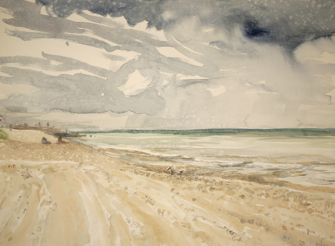 seaside camber sands rain watercolour painting