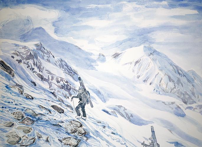 Casati hut ortler Italy Alps skiing painting ski