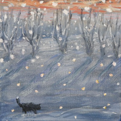 Cat Prowling Light Snow Fall - oil on canvas 20 x 20 cm at Fosse gallery from December 2 to 29th 2018