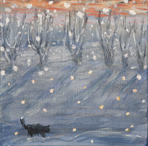 snow and cat painting
