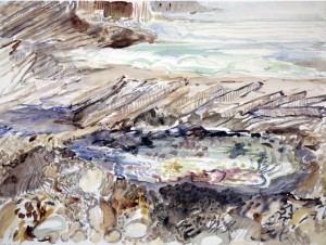 seaside painting sea fall bay Gower wales rock pools