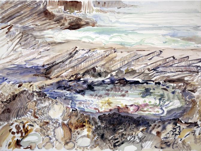 seaside painting sea fall bay Gower wales rock pools