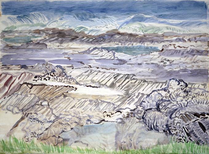 seaside painting sea Causeway Rhossili rock pools gower