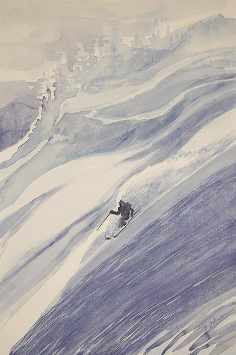 ski skiing painting powder trail Monashees Canada