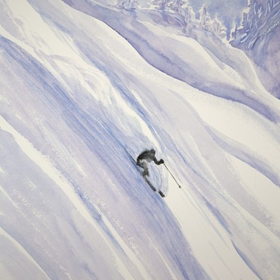 Charging Down Powder Field in Monashee Mountains of British Columbia Canada - watercolour 56 x 41 cm  SOLD