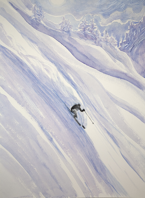 powder skiing painting watercolour canada