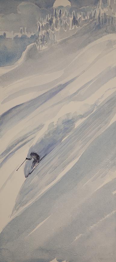 monashee powder canada ski skiing painting