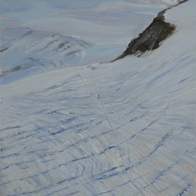 ski skiing painting Alps Mont Mine Bertol hut haute route