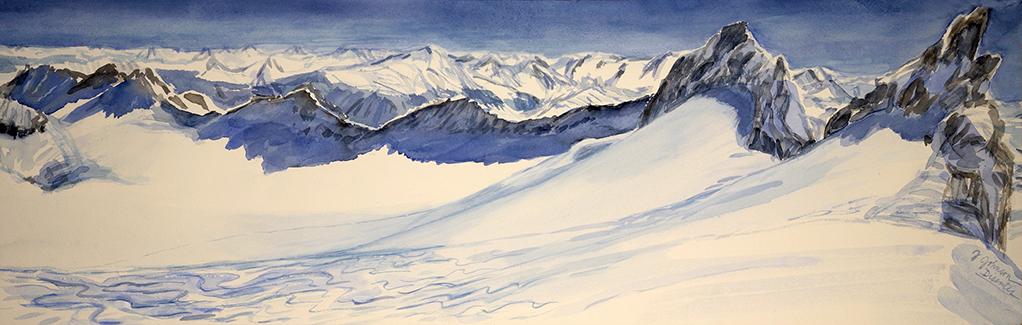 ski skiing painting Alps Disentis Piz Acletta Brichlig Switzerland