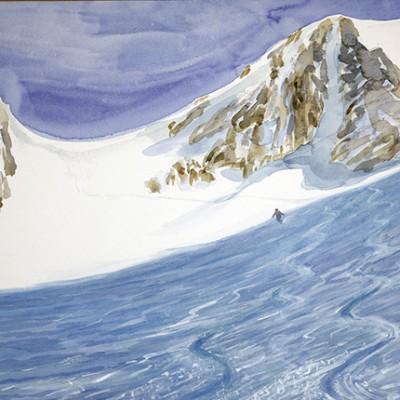 ski skiing painting Alps Disentis fuorla da strem sut