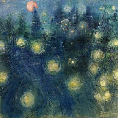 Harvest Moon with Fireflies - oil on canvas 25.5 x 25.5 cm £375  framed