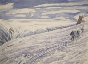 Fjelltindnasen Jokelfjord skiing painting ski Norway