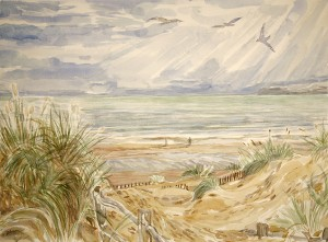 Gulls wind camber sands dunes kent seaside painting sea
