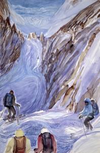 skiing painting ski Alps Col des Ecandies haute route
