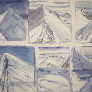 Story board of 8 sketches of summits reached on Italian haute route in August 2015 - watercolour on paper