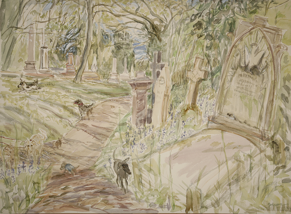 Dogs in Nunhead Cemetery painting