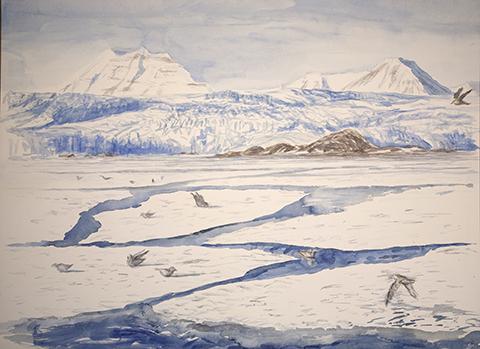 Svalbard glacier near pyramid arctic painting Spitsbergen