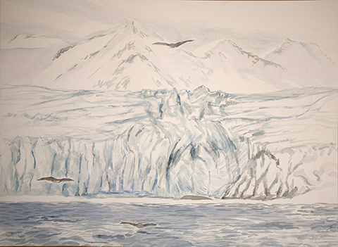 Fulmars and Glacier Esmarkbreen Svalbard - watercolour on paper 55 x 75 cm Framed £700 /some of the pigment is frozen as painted in sub zero temperatures
