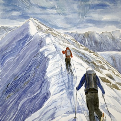 skiing painting ski Norway summit Kvalviktinden Goalsevarre