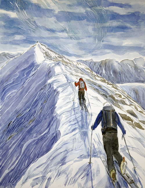 skiing painting ski Norway summit Kvalviktinden Goalsevarre