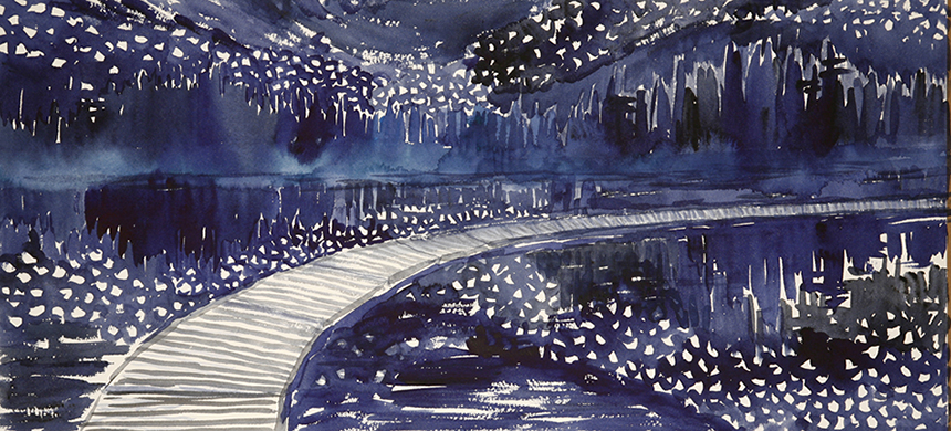 The Milky Way Reflection in Maine USA - watercolour on paper 26 x 55 cm £275