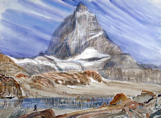 Matterhorn lake Trockerner Steg Zermatt Switzerland ski skiing painting Alps