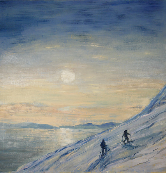 Boreal Yachting midnight sun Lyngen Fjord skiing painting ski Norway