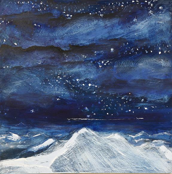 night flight alpine painting mountains stars