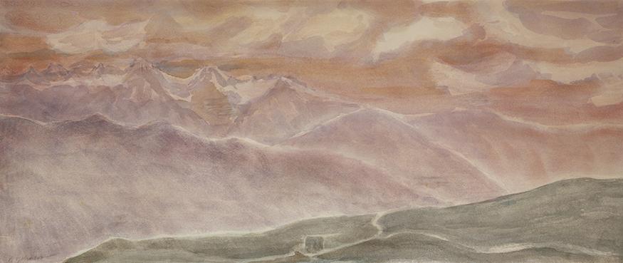 mont fort hut verbier alps painting alpine skiing