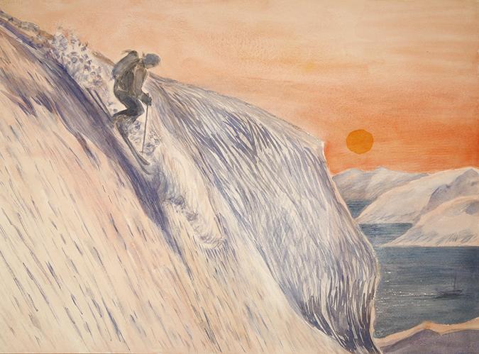 redotinden norway lyngen fjord alpine painting