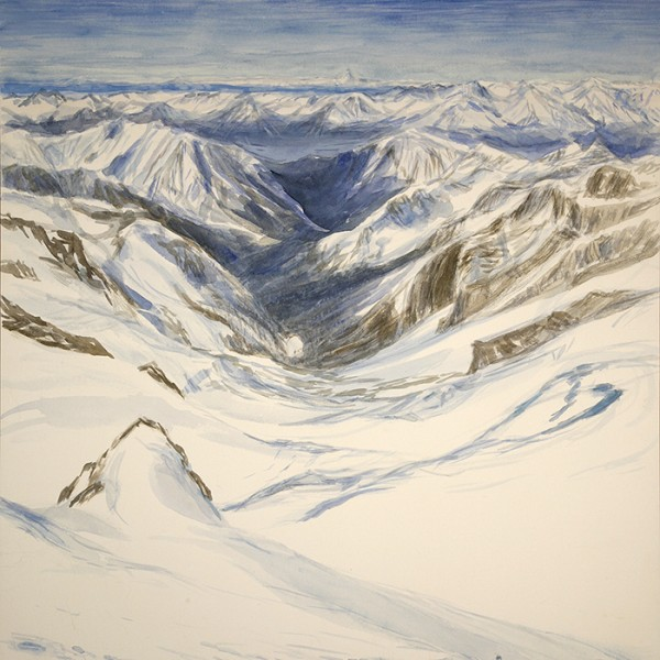 View from Roccia Nera  in Switzerland to Italy - Sarah Emily and Calen ascending the glacier / watercolour on paper