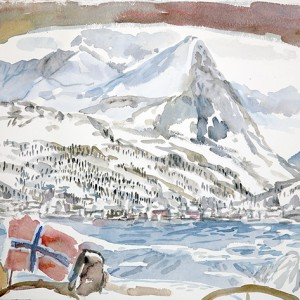 Rornesfjellet above  Lyndseidet, norwegian flag on Artic Ice, painted from deck of boat on sailing out into the fjord